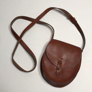 Lucky Brand Brown Leather Crossbody Saddle Bag